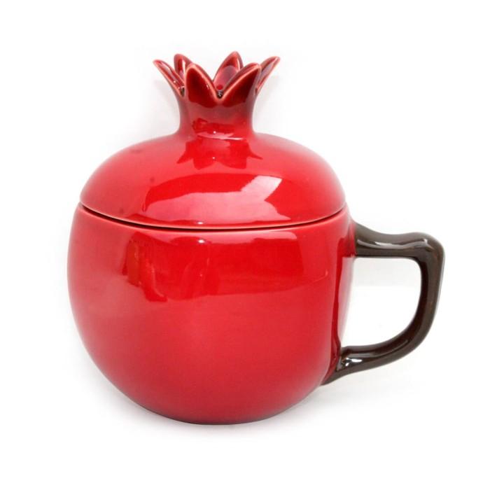 Foto Produk Artisan Ceramic | Red Delima Mug with Lid| Gelas Keramik dari Artisan Ceramic