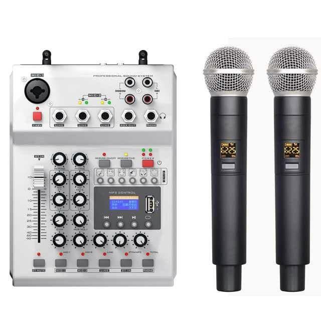 Foto Produk LEORY Pro Console Karaoke Mixer 48V Phantom Power 2 Wireless Mic F-12T dari Kozzo Store