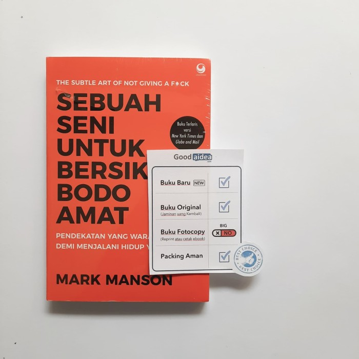 Foto Produk Buku Sebuah Seni Untuk Bersikap Bodo Amat (Best Seller) - Mark Manson dari GoodAIDEA