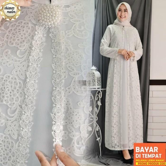 Foto Produk Baju Gamis Putih / Busana Muslim / Baju Muslim Wanita #126 STD - BRUKAT GLITTER, L dari chianoz