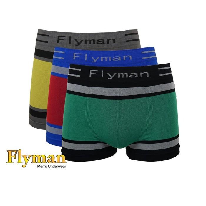 Foto Produk Flyman Boxer Seamless Pakaian Dalam Pria 1 Pack 3 Pcs FM 3185 - M dari Flyman Nathalie Store