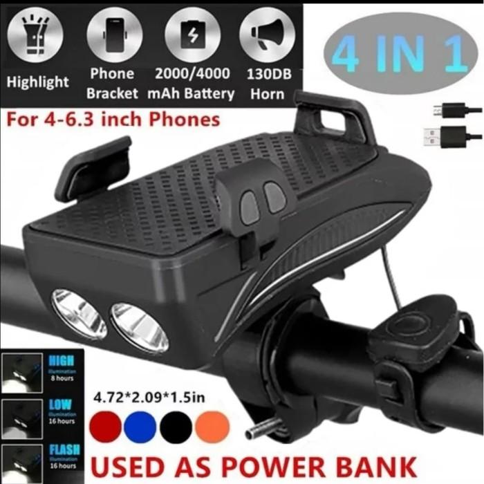 Foto Produk BICYCLE 4 IN 1 POWERBANK + PHONE HOLDER + BELL + LAMPU SEPEDA CAS dari Bro & Sis Jakarta