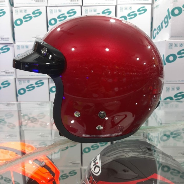 Foto Produk Helm Cargloss CF Retro Solid Red Maroon Metalic dari STAR HELMETS
