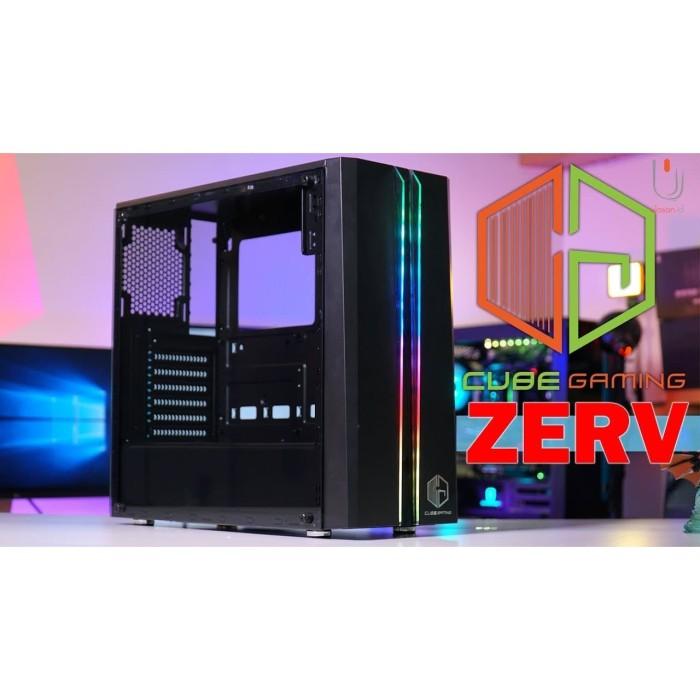Jual Cube Gaming Zerv Front Dual Strip Rainbow Rgb Left Tempered Glass Kota Banjarmasin Borneo Computer Bjm Tokopedia