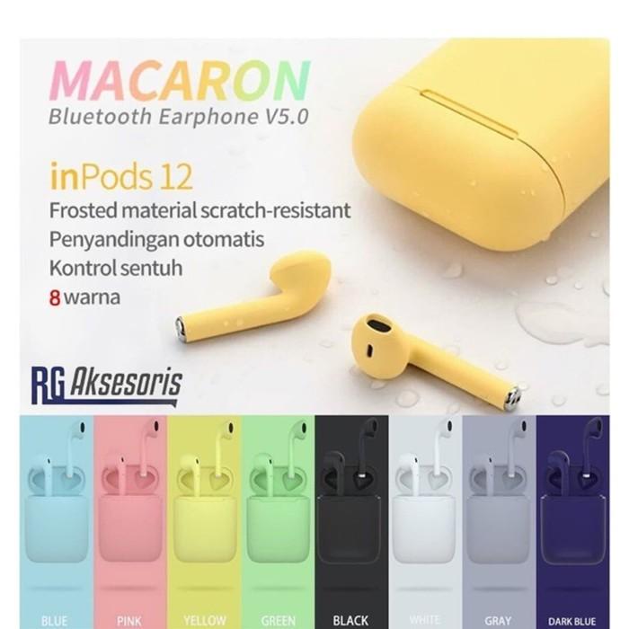 Jual Headset Bluetooth Wirelless Tws Inpods 12 Touch V5 0 Color Macaroon Hitam Kota Tangerang Warung Online12 Tokopedia