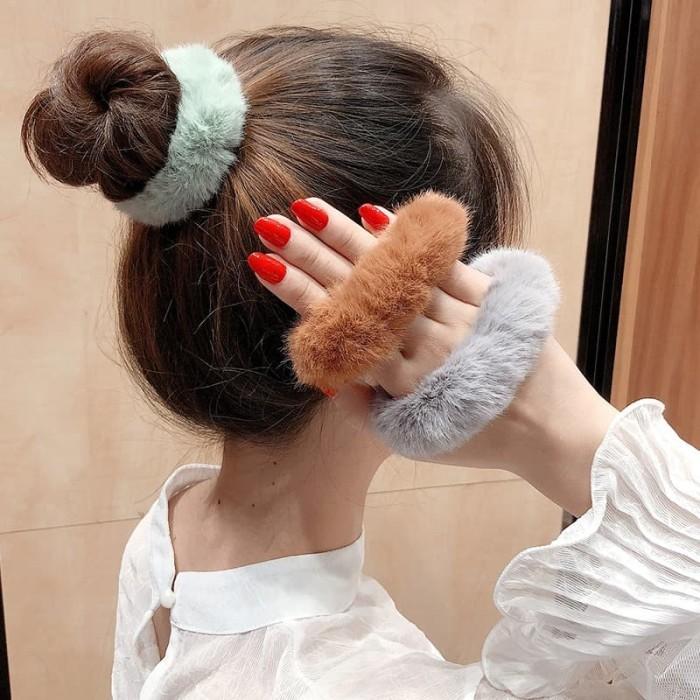 Foto Produk Ik19 Ikat Rambut korea Ponytail Donat Pompom - ginger dari Dneo Store