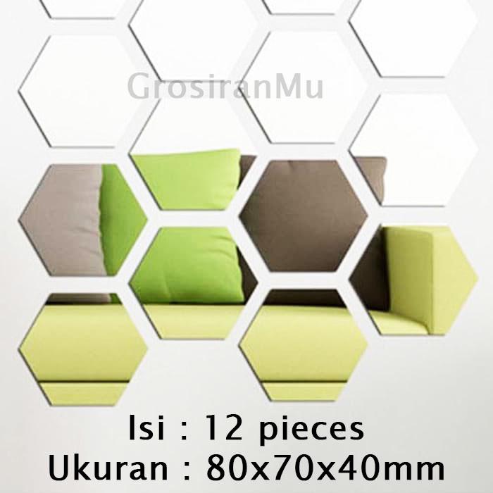 Foto Produk L-12 Sticker Cermin 3D Tempel Heksagonal Dekorasi Dinding Tembok Rumah - Silver dari Grosiranmu