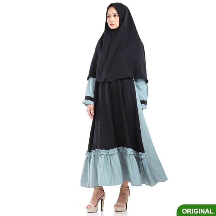 Jual Gamis Set Hijab Syari Hitam Abu Brh259 Xxl Kota Bandung Flavia Fashion Shop Tokopedia
