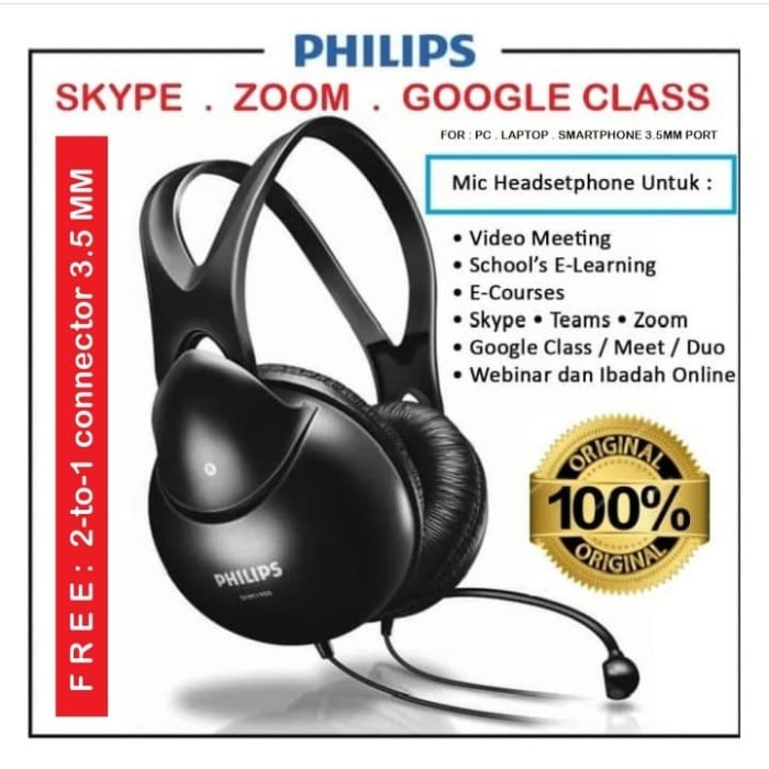 Foto Produk Mic headset headphone headset skype video-meeting zoom Philips SHM1900 dari EtalaseBelanja