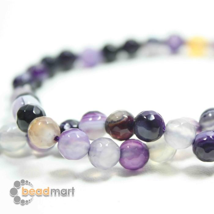 Foto Produk Manik Batu Alam, Fire Agate Purples,1 Renteng, Bahan Aksesoris - 6mm dari Beadmart