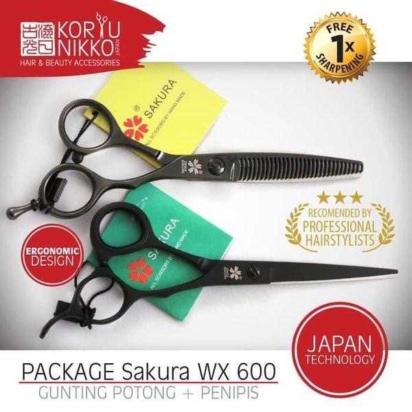 Foto Produk Baru Koryu Nikko PROMO. Paket Gunting Rambut Sakura WX600 Hitam - Or dari soo jisub