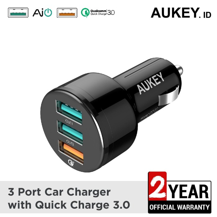 Foto Produk Aukey Car Charger 3 Ports 42W QC 3.0 and AiQ - 500126 dari AUKEY
