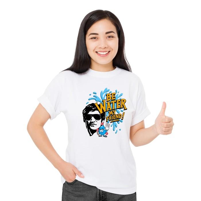 Foto Produk Baju Kaos Atasan TShirt Cewek Distro Fashion Wanita Be Water My Friend - Putih, XS dari Air Minum Biru