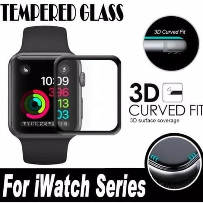 Foto Produk Tempered Glass Full Cover iwatch Apple Watch 38mm 40mm 42mm 44mm - 38mm dari Kiddies World