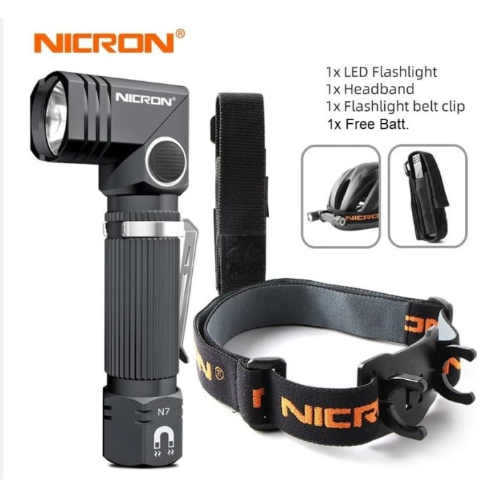Foto Produk NICRON N7 FLASHLIGHT SENTER FULL SET LENGKAP Holder + Headmount dari DO OFFICIAL STORE