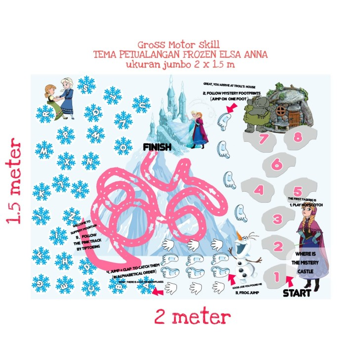 Foto Produk Karpet motorik Frozen Elsa adventure Edukasi gross motor skill 1.5x2m dari eun kids