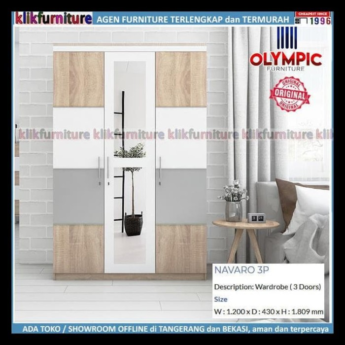 Jual Lemari Navaro Olympic 3 Pintu Cermin Minimalis Jakarta Barat Junistore65 Tokopedia