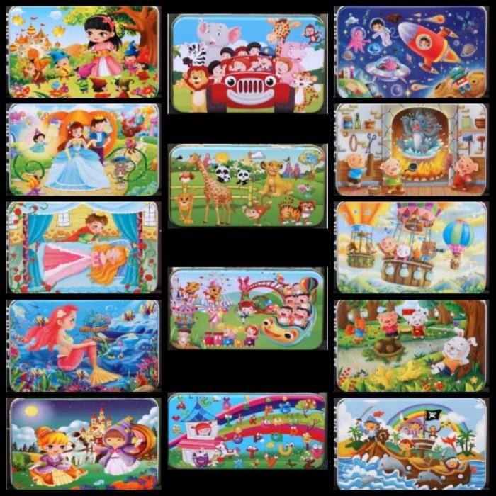 Foto Produk Puzzle Kayu 60 potong Tempat Kotak Kaleng Mainan Anak Edukasi QM5 dari Belowsaban