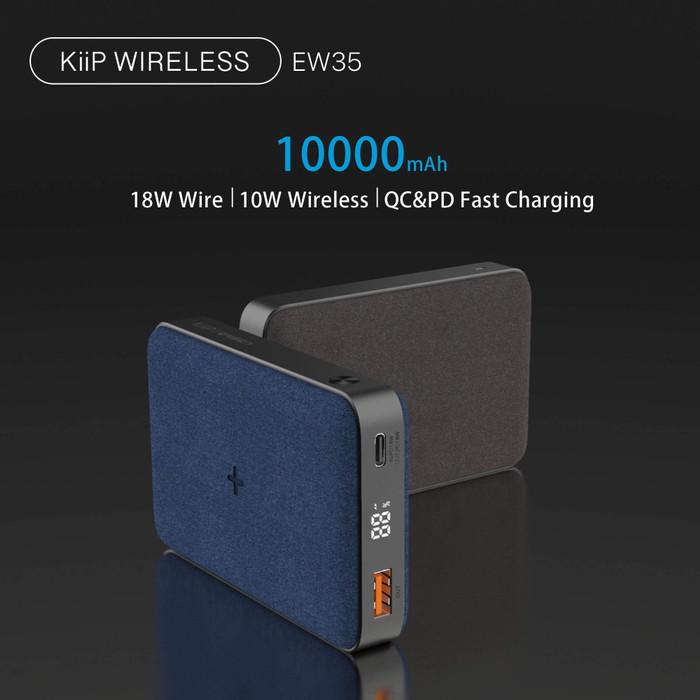 Foto Produk KIIP WIRELESS POWER BANK 10W FAST CHARGING PD&QC 3.0 18W 10000MAH - Hitam dari KIIP Official Store
