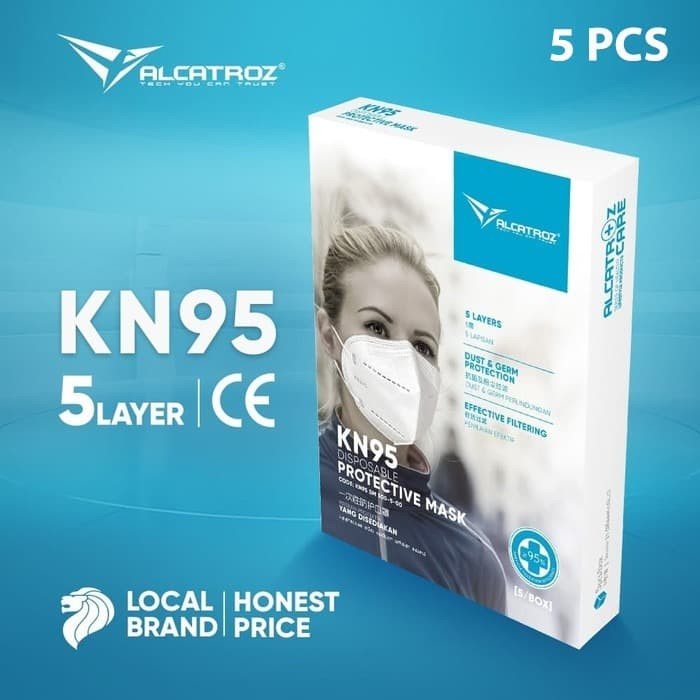 Foto Produk Masker KN95 Alcatroz Care Face Disposable 5 PLY Nano Protection - 1Box - 1 Pcs dari Alcatroz Official Store