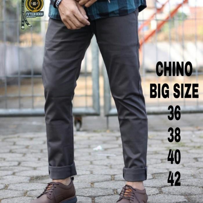Foto Produk Celana chino pria / celana chino panjang big size jumbo premium 36-42 - Abu-abu dari playjeans