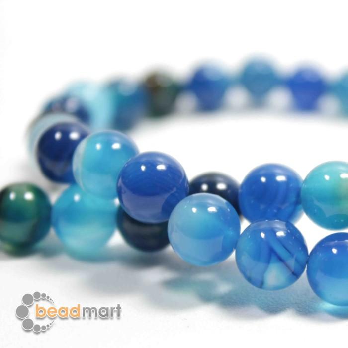 Foto Produk Manik Batu Alam, Blue Stripped Agate, 1 Renteng, Bahan Aksesoris - 8mm dari Beadmart