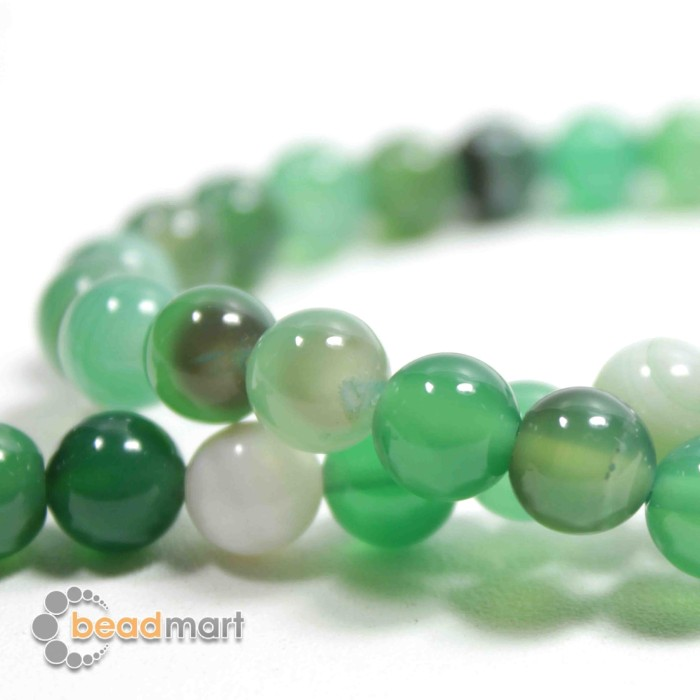 Foto Produk Manik Batu Alam, Green Stripped Agate, 1 Renteng, Bahan Aksesoris - 8mm dari Beadmart
