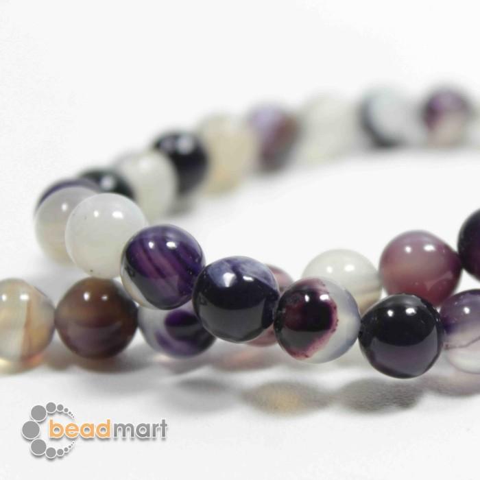 Foto Produk Manik Batu Alam, Purple Stripped Agate, 1 Renteng, Bahan Aksesoris - 8mm dari Beadmart