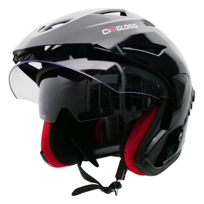 Foto Produk Helm Cargloss CDV CR Helm Half Face Double Visor - Deep Black - M dari Helm Cargloss