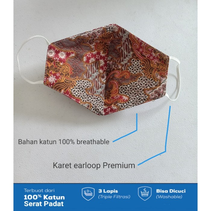 Foto Produk Masker Kain Katun Batik 3ply Premium Quality- Katun serat padat dari mandebutik