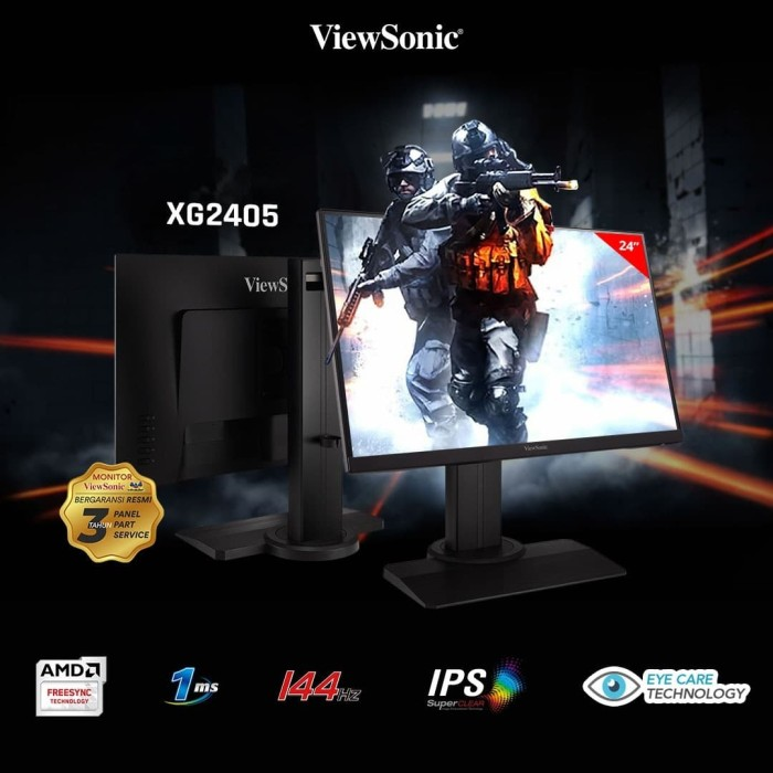 "Jual Monitor Gaming 24"" ViewSonic XG2405 |144Hz|1ms|IPS|Frameless ..."
