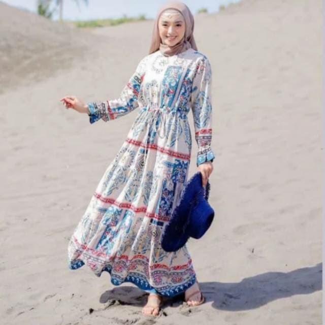 Foto Produk Gamis Bangkok Bunga / Gamis Rayon Viscone / Homey Dress / Homeydress dari ayu rindu