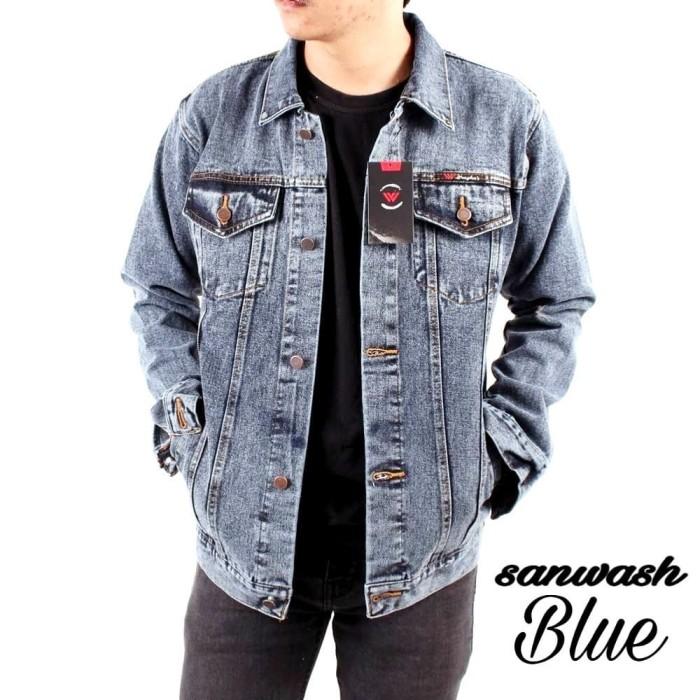 Foto Produk jaket jeans sandwash gray blue pria high quality - Sandwash Blue, M dari D'kop store