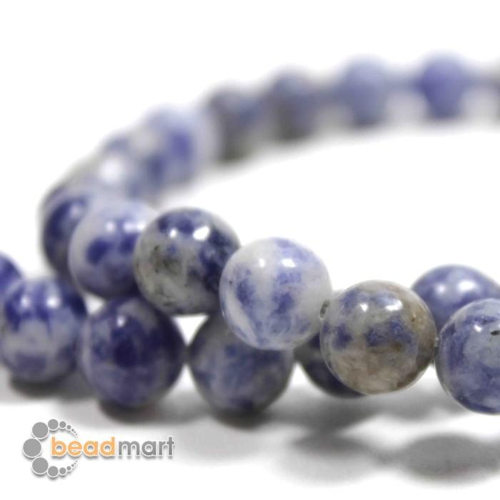 Foto Produk Manik Batu Alam, Blue Vein, 1 Renteng, Bahan Aksesoris - 8mm dari Beadmart
