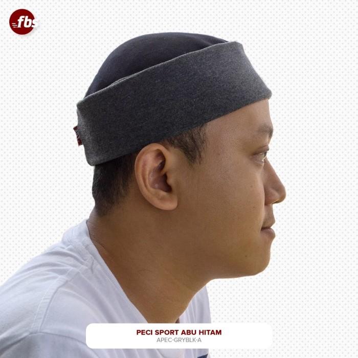 Foto Produk FBS Peci Sport Abu Hitam Premium Kopiah Sporty Pakol Lipat Miki Hat dari FBS - Flower Body Sports
