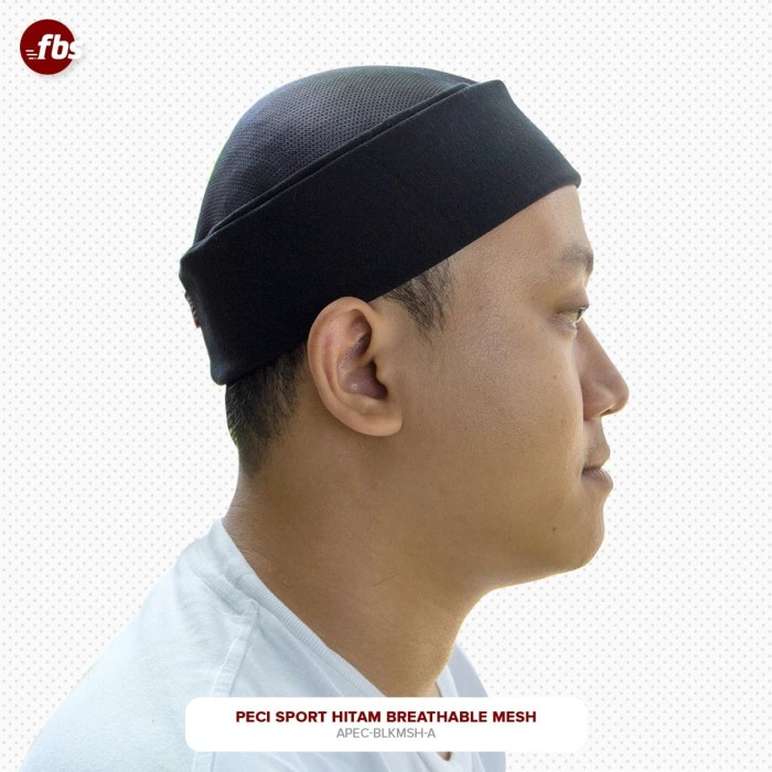 Foto Produk FBS Peci Sport Hitam Mesh Premium Kopiah Sporty Pakol Lipat Miki Hat dari FBS - Flower Body Sports