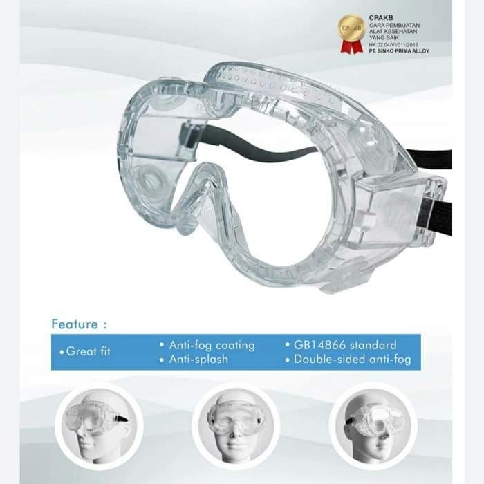Foto Produk Elitech Kacamata Safety Goggle Medical No Fog / Anti Embun Clear Lens dari TokoTensi