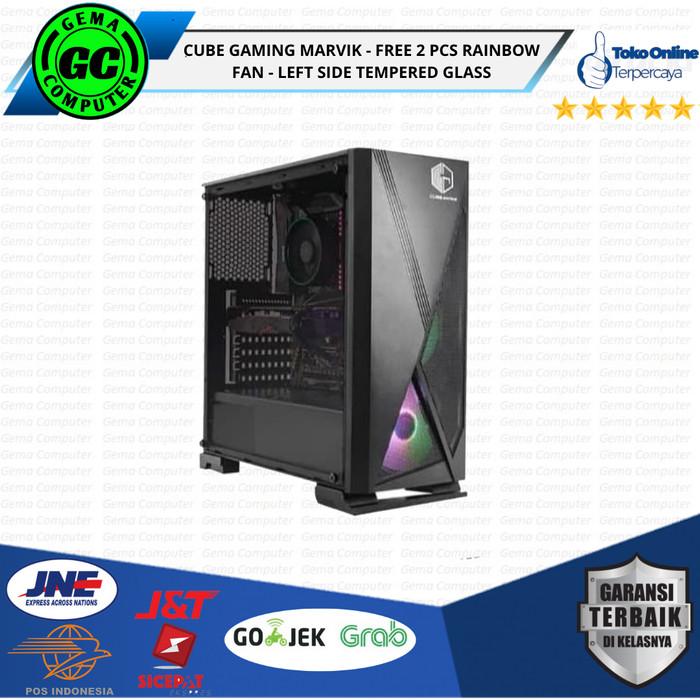 Jual Cube Gaming Marvik Free 2 Pcs Rainbow Fan Left Side Tempered Glass Jakarta Pusat Gema Computer Tokopedia
