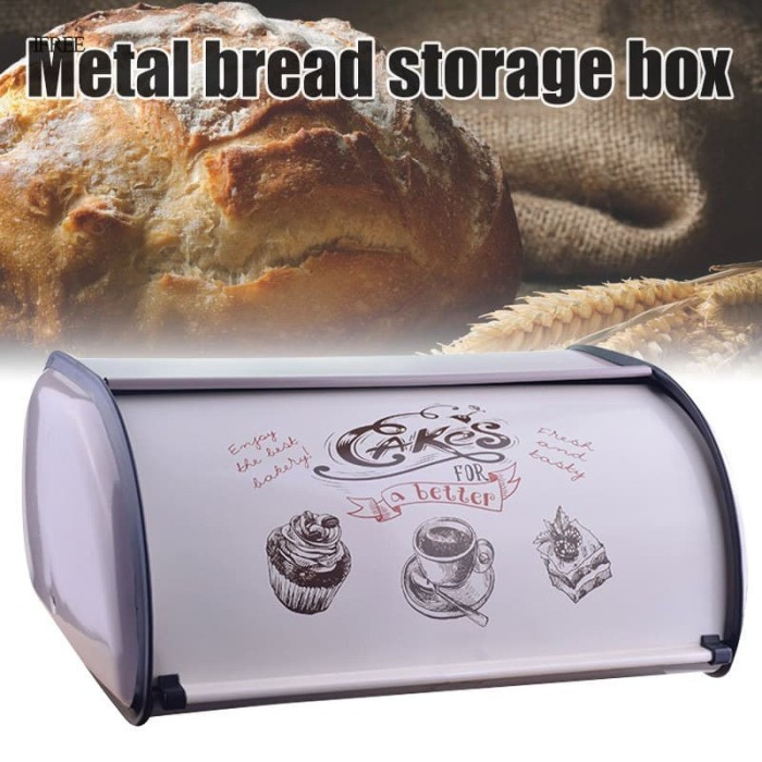 Jual Diskon Metal Bread Box Bin Kitchen Storage Containers Home Kitchen Jakarta Pusat Casing Import Terbaru Tokopedia