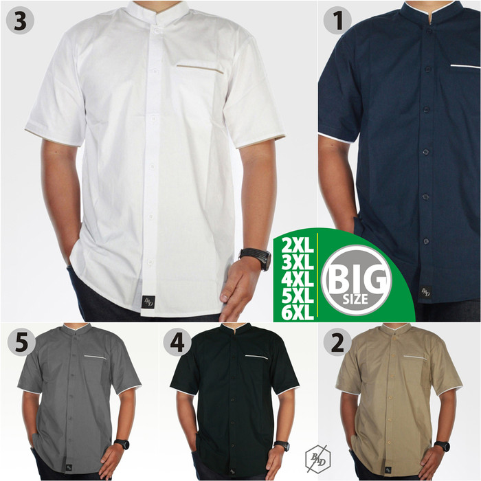 Foto Produk Baju Kemeja Koko Pria Big Size Gamis Pendek Muslim Kemko XXL XXXL - Putih, 5XL dari BAD-STORE