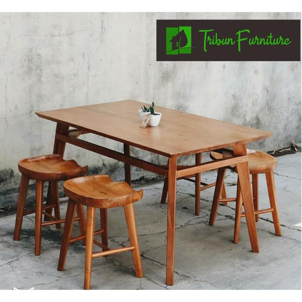Jual Set Meja Kursi Cafe Minimalis Kayu Jati Kursi Makan Murah Kab Jepara Tribun Furniture Tokopedia