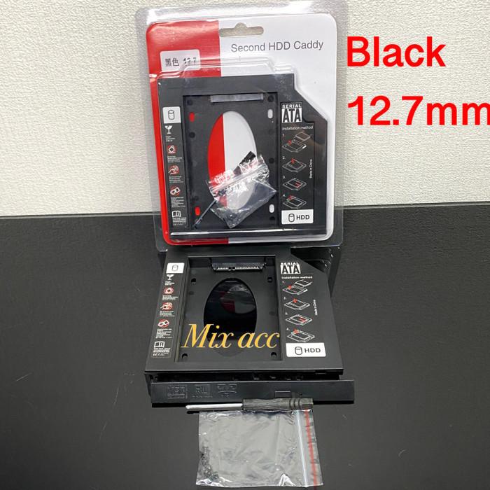 Foto Produk SSD HDD Caddy Slim 12.7 mm SATA DVD Slot Hardisk - HITAM PLASTIK dari Mix acc88