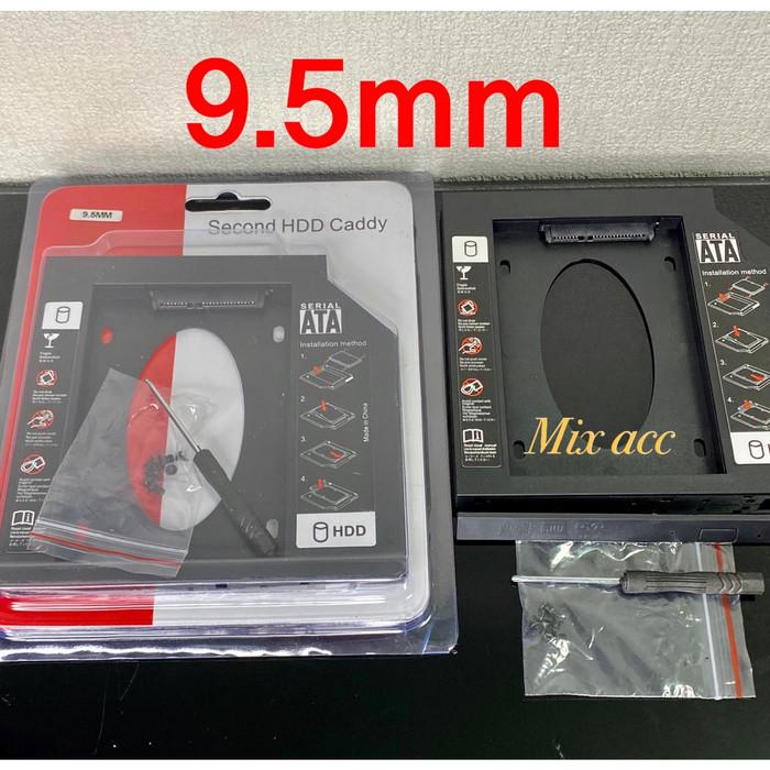 Foto Produk SSD HDD Caddy Slim 9.5mm SATA DVD Slot Hardisk - GRC-BR-HDSC95 - PLASTIK HITAM dari Mix acc88