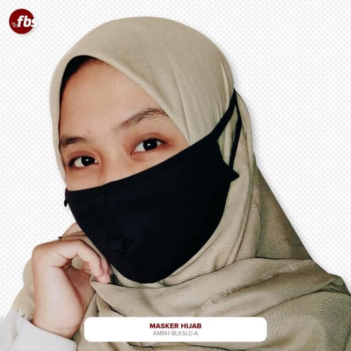 Foto Produk FBS Masker Kain Tali Hijab Hitam Premium Spandex 3 Ply Lapis Layer dari FBS - Flower Body Sports