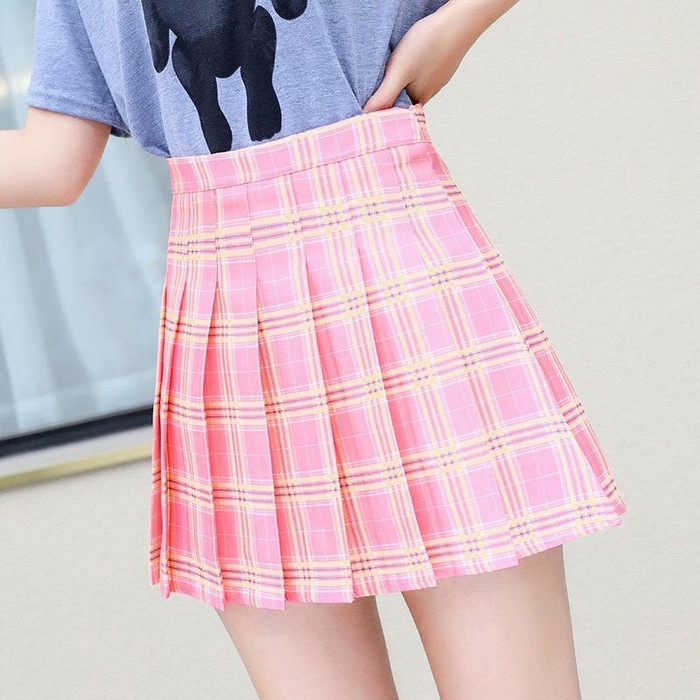 Foto Produk PLAID TENNIS SKORT (rok celana) - rok wanita - bawahan wanita - pink, S dari dujourecloset