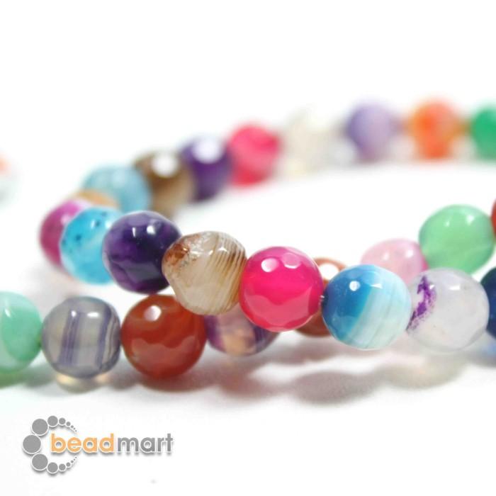 Foto Produk Manik Batu Alam, Fire Agate Multicolor, 1 Renteng, Bahan Aksesoris - 8mm dari Beadmart