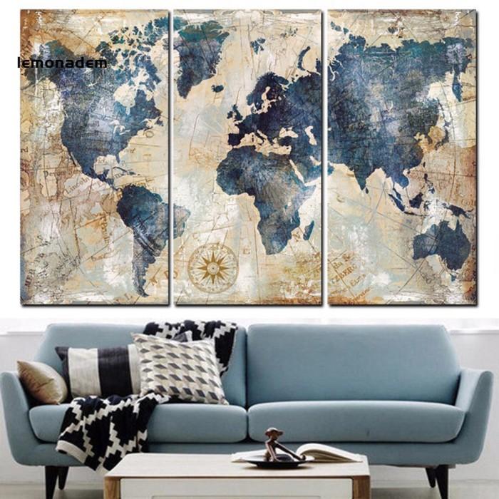 Jual Promo 3pcs Set World Map Wall Art Paintings No Frame Home Living Room Jakarta Barat Home Living Keren Tokopedia