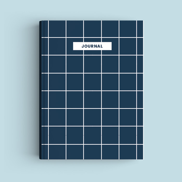 Foto Produk Notebook Custom A5 - Navy Squares - Journal 2020 | Planner - Bookpaper Polos dari The Book ID
