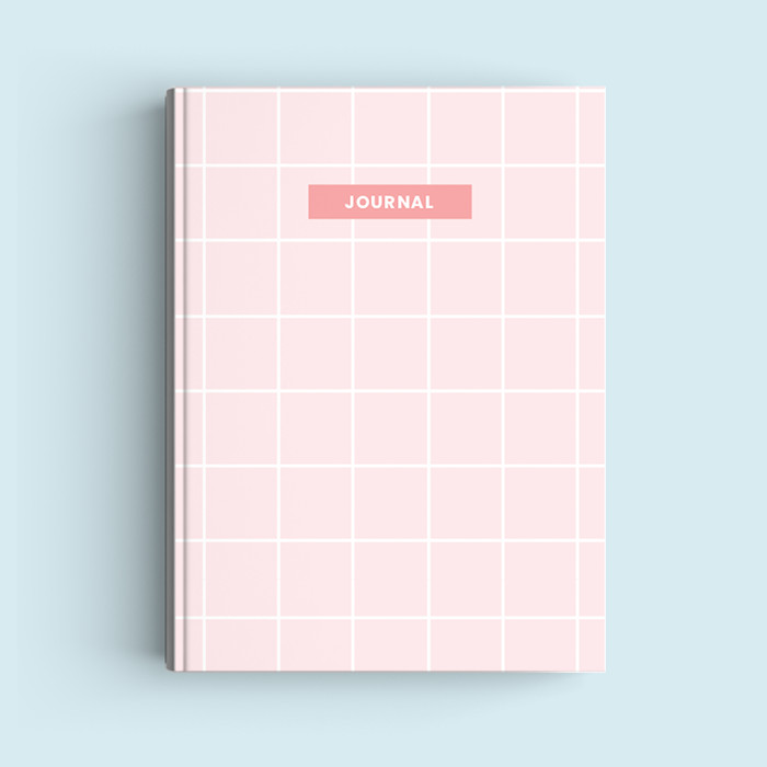Foto Produk Notebook Custom A5 - Pink Squares - Journal 2020   Planner - Bookpaper Polos dari The Book ID