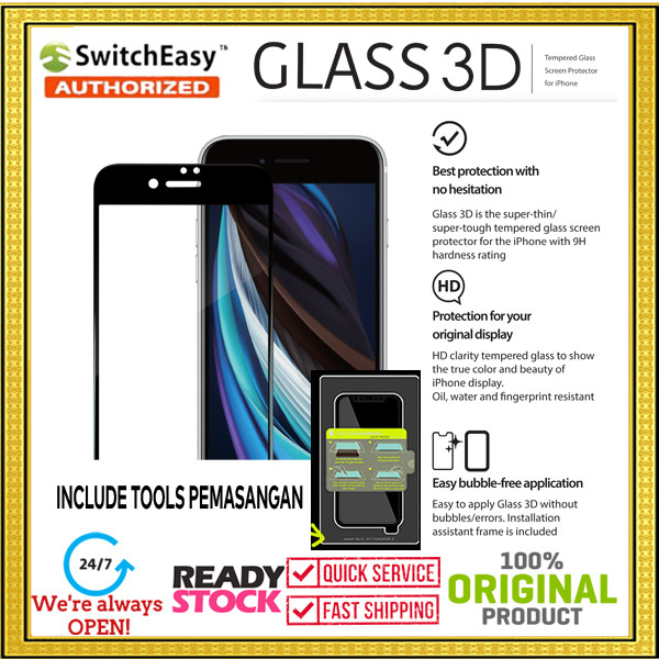 Foto Produk iPhone SE 2020 / 8 / 7 SWITCHEASY 3D Tools Tempered Glass (0.33mm) - Black dari Spigen Indonesia